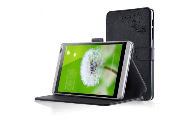 Фирменный чехол закрытого типа с красивым узором для планшета Huawei Mediapad M1 8.0/ M1 8.0 LTE (S8-301W/U S8-303L) с держателем для руки черный натуральная кожа Prestige Италия