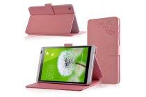 Фирменный чехол закрытого типа с красивым узором для планшета Huawei Mediapad M1 8.0/ M1 8.0 LTE (S8-301W/U S8-303L) с держателем для руки розовый натуральная кожа Prestige Италия
