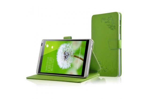 Фирменный чехол закрытого типа с красивым узором для планшета Huawei Mediapad M1 8.0/ M1 8.0 LTE (S8-301W/U S8-303L) с держателем для руки зеленый натуральная кожа Prestige Италия