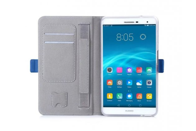 Фирменный чехол бизнес класса для Huawei MediaPad M2 7.0 (PLE-703L) с визитницей и держателем для руки белый натуральная кожа Prestige Италия