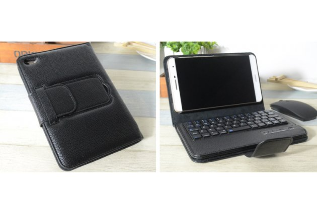 Фирменный чехол со съёмной Bluetooth-клавиатурой для Huawei MediaPad M2 7.0 (PLE-703L) черный кожаный + гарантия