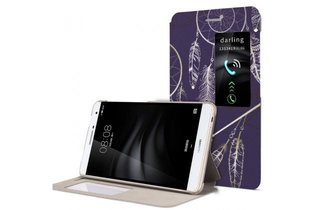 Фирменный оригинальный чехол-книжка для Huawei MediaPad M2 7.0 (PLE-703L) фиолетовый с окошком для входящих вызовов тематика Волшебное Перо