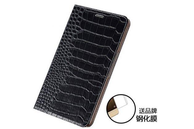 Фирменный роскошный эксклюзивный чехол с фактурной прошивкой рельефа кожи крокодила и визитницей черный для Huawei MediaPad M2 7.0 (PLE-703L). Только в нашем магазине. Количество ограничено
