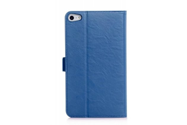 Фирменный чехол бизнес класса для Huawei MediaPad M2 7.0 (PLE-703L) с визитницей и держателем для руки синий натуральная кожа Prestige Италия