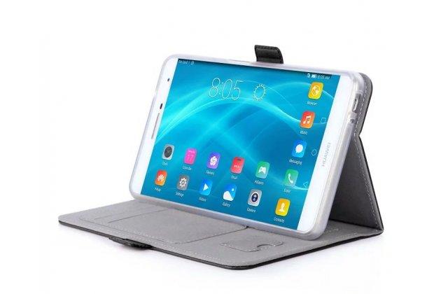 Фирменный чехол бизнес класса для Huawei MediaPad M2 7.0 (PLE-703L) с визитницей и держателем для руки черный натуральная кожа Prestige Италия