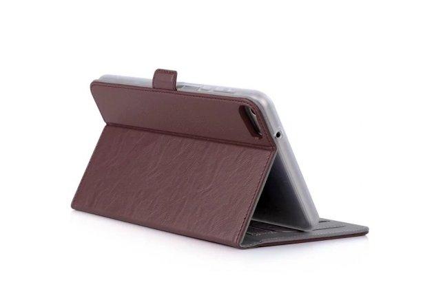 Фирменный чехол бизнес класса для Huawei MediaPad M2 7.0 (PLE-703L) с визитницей и держателем для руки коричневый натуральная кожа Prestige Италия