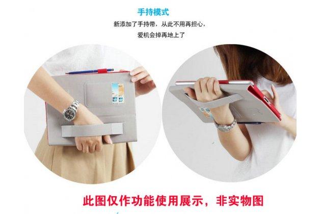 Фирменный чехол бизнес класса для Huawei MediaPad M2 7.0 (PLE-703L) с визитницей и держателем для руки зеленый натуральная кожа Prestige Италия