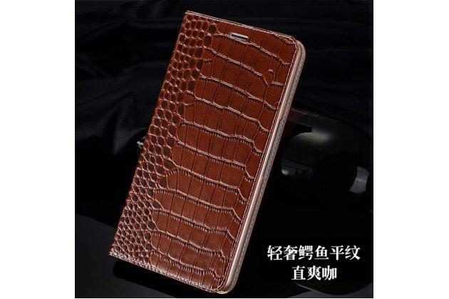 Фирменный роскошный эксклюзивный чехол с фактурной прошивкой рельефа кожи крокодила и визитницей коричневый для Huawei MediaPad M2 7.0 (PLE-703L). Только в нашем магазине. Количество ограничено