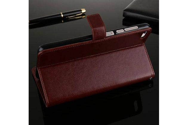 Фирменный чехол-книжка из качественной импортной кожи с подставкой застёжкой и визитницей для Huawei MediaPad M2 7.0 (PLE-703L) коричневый