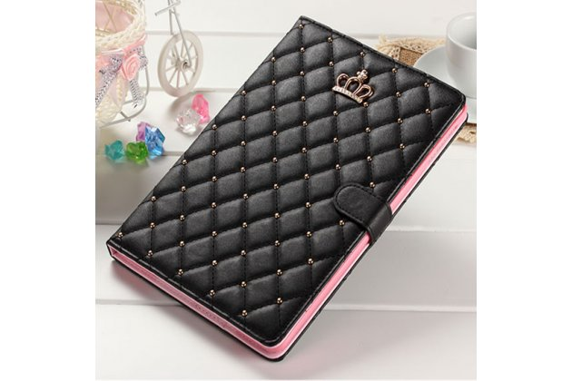 Стёганная кожа в ромбик с узором чехол-обложка для Huawei MediaPad M2 7.0 (PLE-703L) цвет черный кожаный