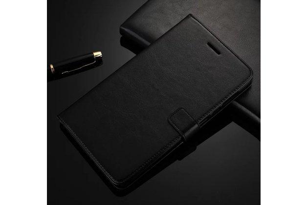 Фирменный премиальный чехол бизнес класса для Huawei MediaPad M2 8.0 LTE (M2-801W M2-803L) с визитницей из качественной импортной кожи черный