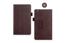 Фирменный чехол бизнес класса для Huawei MediaPad M3 8.4 LTE (BTV-W09/DL09) с визитницей и держателем для руки коричневый натуральная кожа Prestige Италия