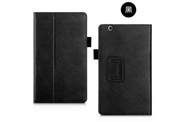 Фирменный чехол бизнес класса для Huawei MediaPad M3 8.4 с визитницей и держателем для руки черный натуральная кожа Prestige Италия