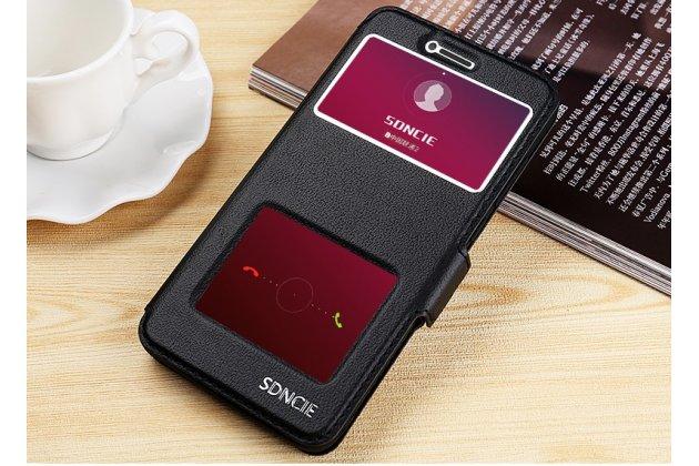 Фирменный чехол-книжка для Huawei Nova 2S (HWI-AL00) черный с окошком для входящих вызовов и свайпом водоотталкивающий