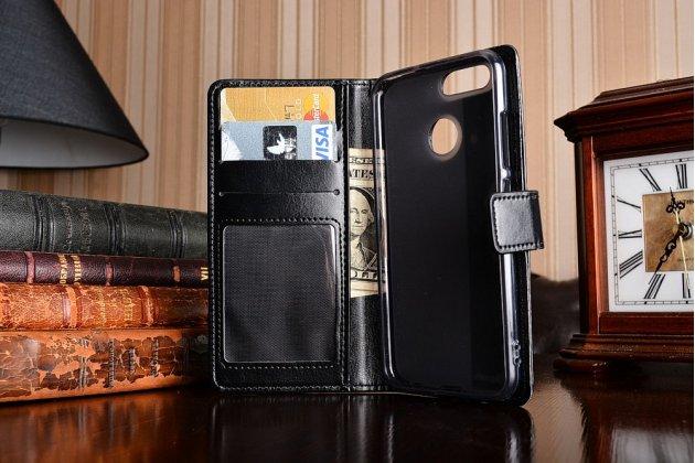 Фирменный оригинальный чехол-книжка из качественной импортной кожи вызовов  для Huawei nova 2 черный