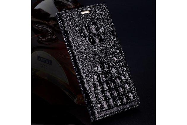 Фирменная роскошная эксклюзивная накладка с объёмным 3D изображением рельефа кожи крокодила черная для Huawei nova 2 . Только в нашем магазине. Количество ограничено