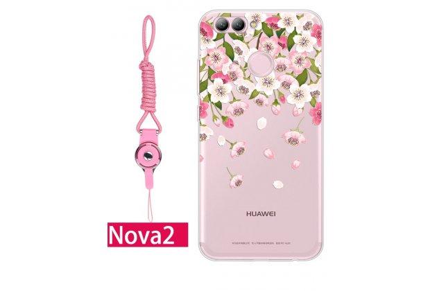 Фирменная роскошная задняя панель-чехол-накладка из мягкого силикона с объемным  3D изображением  на Huawei nova 2 c с безумно красивым рисунком  Тематика Куст цветов