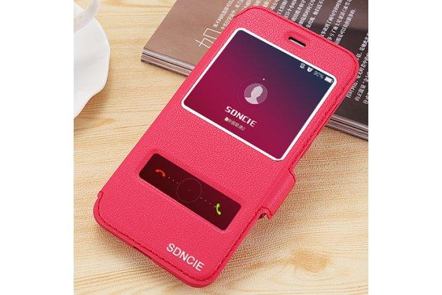 Фирменный чехол-книжка для Huawei nova 2 5.0 (BAC-AL00) красный с окошком для входящих вызовов и свайпом водоотталкивающий
