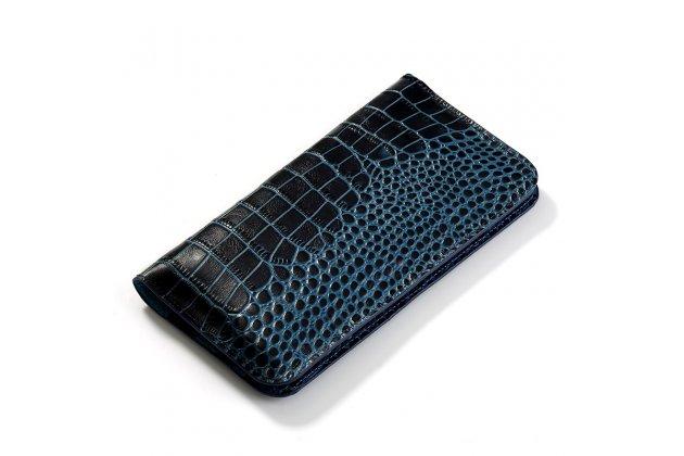Фирменный роскошный эксклюзивный чехол-клатч-портмане с фактурной прошивкой рельефа кожи крокодила и визитницей синий для Huawei nova 2.