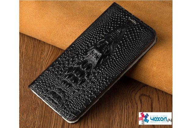 Фирменный роскошный эксклюзивный чехол с объёмным 3D изображением рельефа кожи крокодила черный для Huawei nova 2 . Только в нашем магазине. Количество ограничено