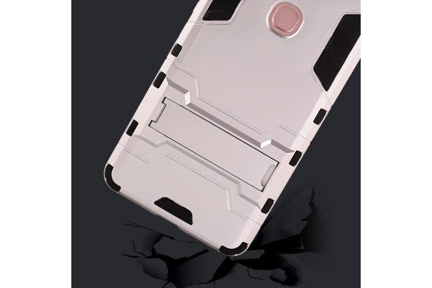 Противоударный усиленный ударопрочный фирменный чехол-бампер-пенал для Huawei nova 2 5.0 (BAC-AL00) серебристый