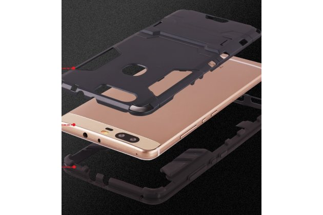 Противоударный усиленный ударопрочный фирменный чехол-бампер-пенал для Huawei nova 2 5.0 (BAC-AL00) золотой
