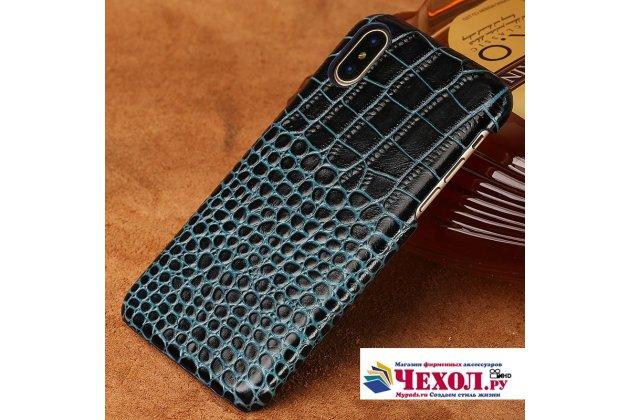 Фирменная элегантная экзотическая задняя панель-крышка с фактурной отделкой натуральной кожи крокодила синяя для Huawei Nova 2i (RNE-AL00) / Huawei Mate 10 Lite. Только в нашем магазине. Количество ограничено.