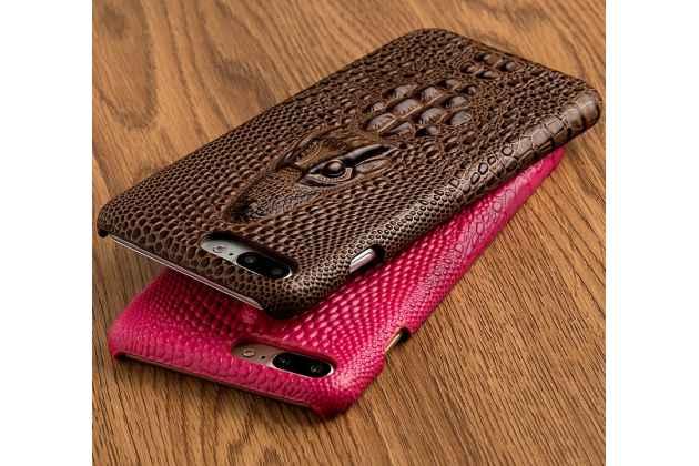 Фирменная роскошная эксклюзивная накладка с объёмным 3D изображением рельефа кожи крокодила коричневая для Huawei Nova 2i (RNE-AL00) / Huawei Mate 10 Lite. Только в нашем магазине. Количество ограничено