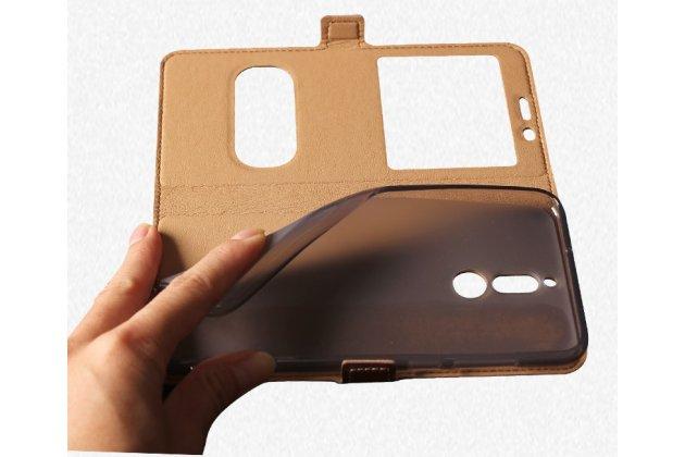 Фирменный чехол-книжка для Huawei Nova 2i (RNE-AL00) / Huawei Mate 10 Lite коричневый с окошком для входящих вызовов и свайпом водоотталкивающий