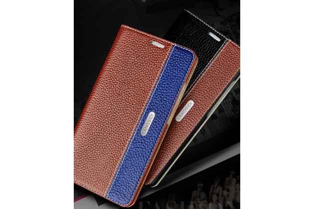 Фирменный премиальный элитный чехол-книжка из качественной импортной кожи с мульти-подставкой и визитницей для Huawei Nova 2i (RNE-AL00) / Huawei Mate 10 Lite коричнево-синий