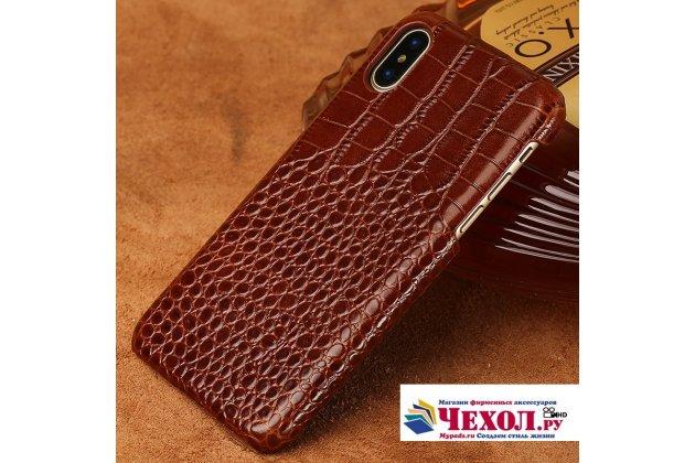 Фирменная элегантная экзотическая задняя панель-крышка с фактурной отделкой натуральной кожи крокодила коричневая для Huawei Nova 2i (RNE-AL00)/ Huawei Mate 10 Lite. Только в нашем магазине. Количество ограничено.