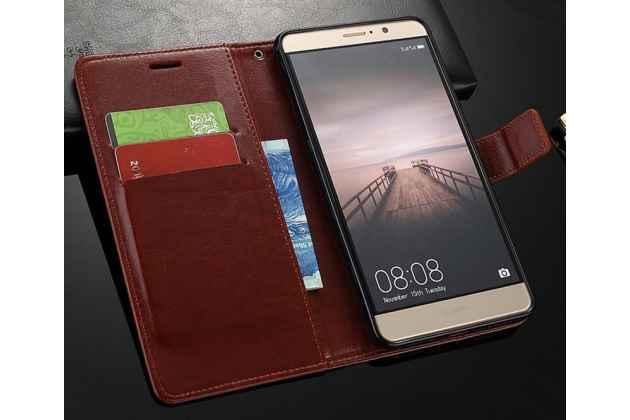 Фирменный чехол-книжка из качественной импортной кожи с подставкой застёжкой и визитницей для Huawei Nova 2i (RNE-AL00) черный