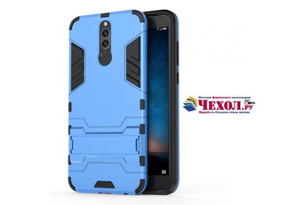 Противоударный усиленный ударопрочный фирменный чехол-бампер-пенал для Huawei Nova 2i (RNE-AL00) синий