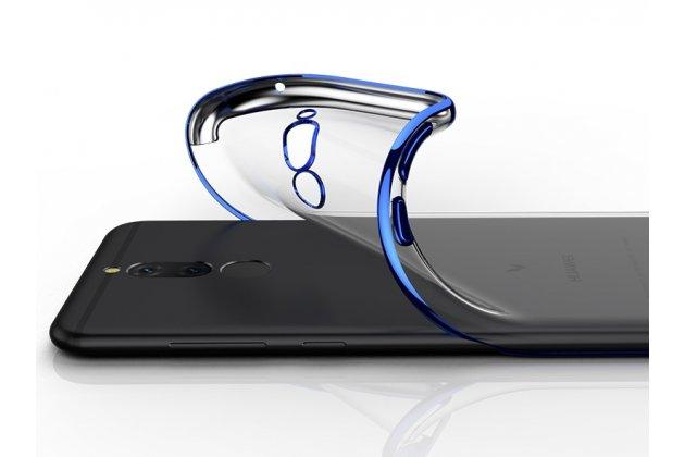 Фирменная задняя панель-чехол-накладка с защитными заглушками с защитой боковых кнопок для Huawei Nova 2i (RNE-AL00) прозрачная синяя
