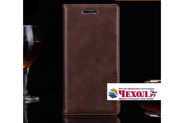 """Фирменный премиальный элитный чехол-книжка с логотипом из качественной импортной кожи с мульти-подставкой и визитницей для Huawei Nova 2i (RNE-AL00)  """"Ретро"""" коричневый"""