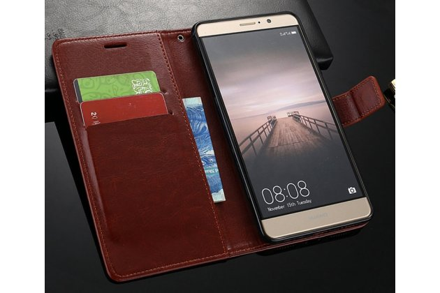 Фирменный чехол-книжка из качественной импортной кожи с подставкой застёжкой и визитницей для Huawei Nova 2i (RNE-AL00) коричневый
