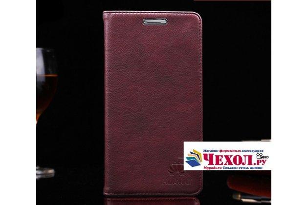 """Фирменный премиальный элитный чехол-книжка с логотипом из качественной импортной кожи с мульти-подставкой и визитницей для Huawei Nova 2i (RNE-AL00)  """"Ретро"""" цвет красное вино"""