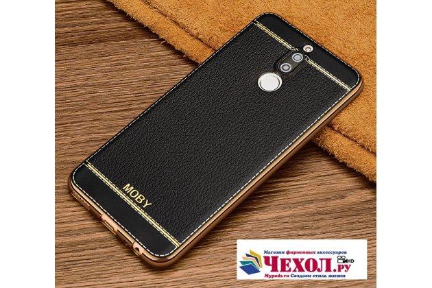 Фирменная премиальная элитная крышка-накладка на Huawei Nova 2i (RNE-AL00) черная из качественного силикона с дизайном под кожу