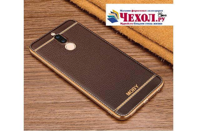 Фирменная премиальная элитная крышка-накладка на Huawei Nova 2i (RNE-AL00) коричневая из качественного силикона с дизайном под кожу