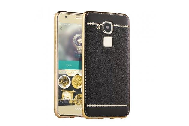 Фирменная премиальная элитная крышка-накладка на Huawei Nova Plus/ G9 Plus черная из качественного силикона с дизайном под кожу