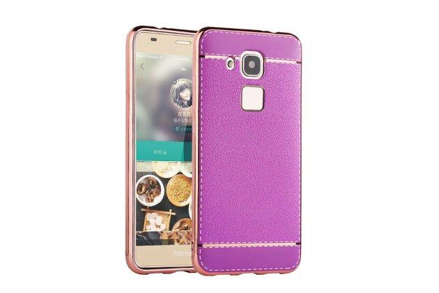 Фирменная премиальная элитная крышка-накладка на Huawei Nova Plus фиолетовая из качественного силикона с дизайном под кожу