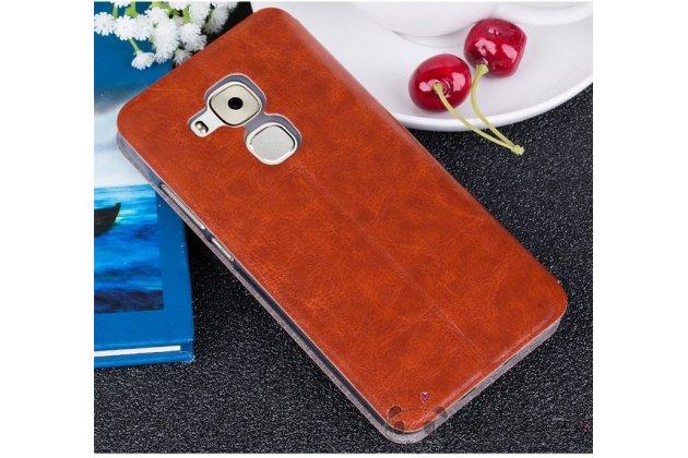 Фирменный чехол-книжка из качественной водоотталкивающей импортной кожи на жёсткой металлической основе для Huawei Nova Plus светло-коричневый