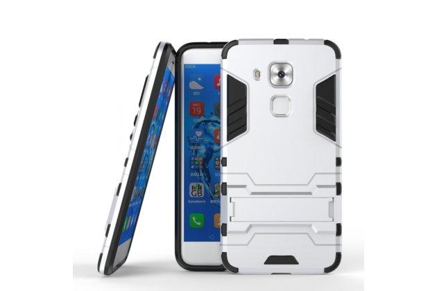 Противоударный усиленный ударопрочный фирменный чехол-бампер-пенал для Huawei Nova Plus серебристый