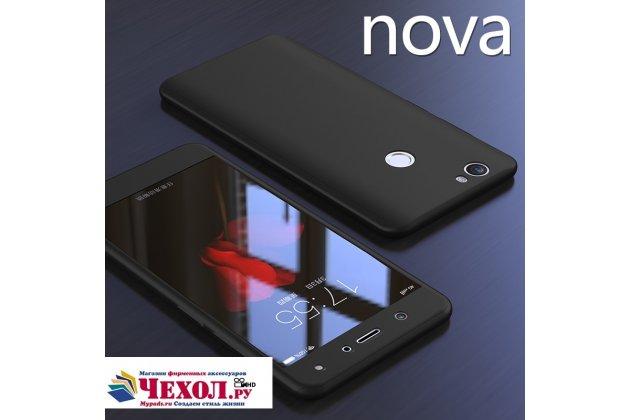 Фирменный уникальный чехол-бампер-панель с полной защитой дисплея и телефона по всем краям и углам для Huawei Nova черный