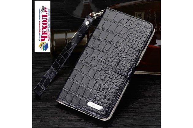Фирменный роскошный эксклюзивный чехол с фактурной прошивкой рельефа кожи крокодила и визитницей черный для Huawei Nova. Только в нашем магазине. Количество ограничено