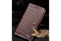 Фирменный роскошный эксклюзивный чехол с фактурной прошивкой рельефа кожи крокодила и визитницей коричневый для Huawei Nova. Только в нашем магазине. Количество ограничено