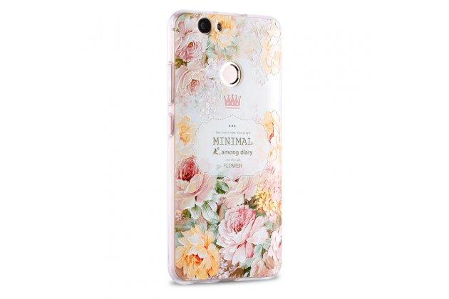 """Фирменная роскошная задняя панель-чехол-накладка  из мягкого силикона с безумно красивым расписным 3D рисунком на Huawei Nova """"тематика Королевские розы"""""""