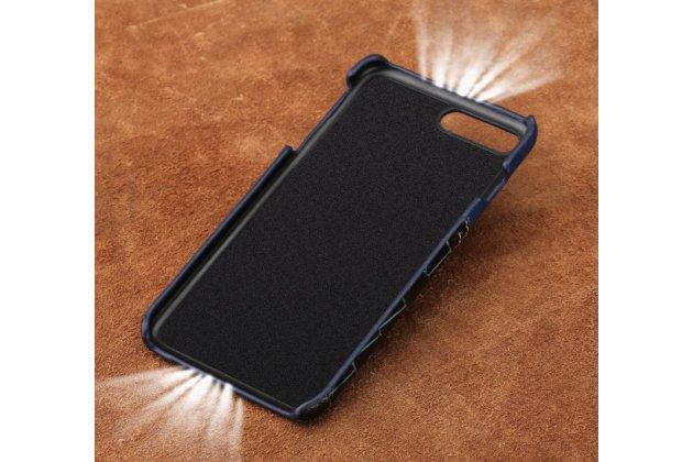 Фирменная роскошная элитная премиальная задняя панель-крышка для Huawei P10 Lite / Nova Lite из качественной кожи буйвола с вставкой под кожу рептилии в коричневом цвете