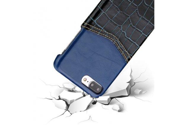 Фирменная роскошная элитная премиальная задняя панель-крышка для Huawei P10 Lite / Nova Lite из качественной кожи буйвола с вставкой под кожу рептилии в синем цвете