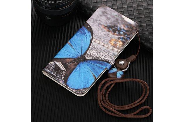 Фирменный уникальный необычный чехол-подставка для Huawei Nova Lite  тематика Голубая Бабочка